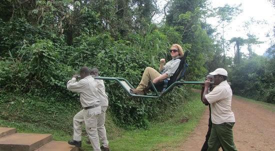 Sedan seat stretcher in bwindi