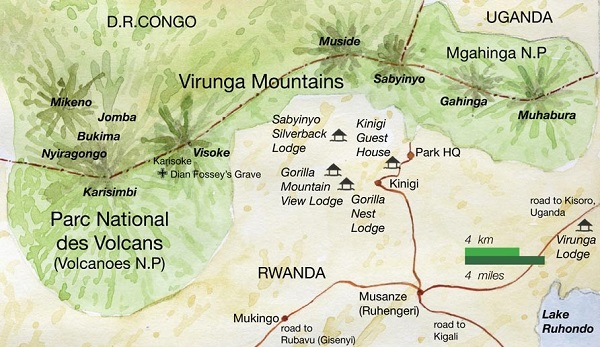 Virunga Conservation Area Gorilla Trekking Map