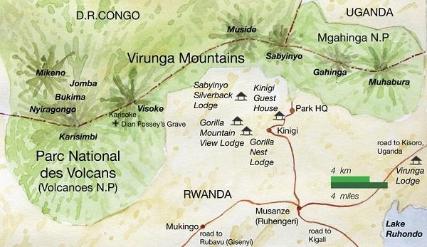 Virunga Conservation Area Gorilla Trekking Map